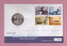 G.B. Royal Navy submarines, coin first day cover, 2001 5 crowns, Turks & Caicos