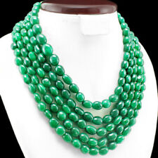 FINEST EVER 1130.00 CTS NATURAL 5 LINE GREEN EMERALD BEADS NECKLACE $$ - GEM EDH
