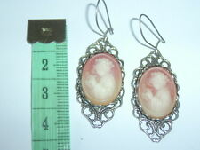 Quality Vintage Cameo Dangle Earrings Antique Silver Look Filligree Settings