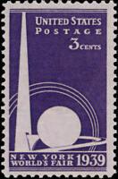 1939 3c New York World's Fair Scott 853 Mint F/VF NH