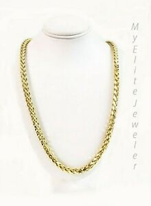 """Real 10k Gold Palm Chain Necklace 4mm 24"""" Lobster Lock Real 10 KT Yellow Gold"""