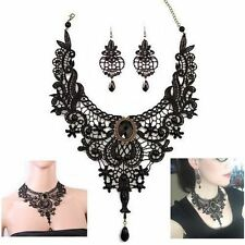 Black Lace Pendant Necklace & Earrings Set ~ Women Jewelry Gothic Fashion Choker