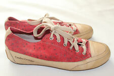 CANDICE COOPER Hand Made LEATHER Trainers Sneakers Shoes Red Tan  sz 6