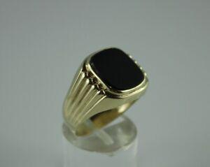 Goldring Herrenring Ring Gelbgold Gold 333 (8K) - Onyx - Ø 20,2 mm - 5,14 g