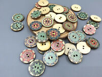 50pcs Mixed Retro Round Wooden buttons sewing scrapbook decoration 2 hole 20mm