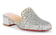 NIB Christian Louboutin Spiky Sun 35 Silver Glitter Heel Loafer Mule Flat 37.5