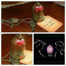 La Bella Y La Bestia encantado pétalo de rosa espejo de Cúpula de Vidrio Collar De Disney