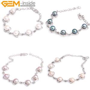 "Pretty Pearl Beads Rhinestone Hook Love Heart Fashion Jewelry Bracelet 8"" Gift"
