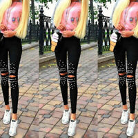 Women's Denim Skinny Ripped Pants High Waist Hole Slim Stretchy Pencil Trousers