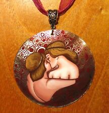 Vsevolod Maksymovych KISS Couple Pendant Russian hand painted SHELL Genuine GIFT
