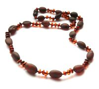 Genuine Natural Raw Polished Cherry Baltic Amber Necklace Adult 55 cm Jewelry