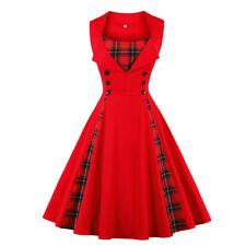 UK Plus Size Womens Girls Vintage Check Plaid Rockabilly 1950s Swing Retro Dress