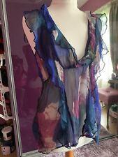 Next Ladies Striped Silk Tie Back Top - Size 16