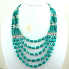 Natural Green Tibetan Turquoise Gemstone Beaded Necklace 81 Grams