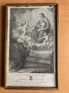 Incisione Antica Ottocentesca San Francesco Di Paola Charitas Stampa