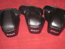 Lot of three Nikon Leather Camera Cases CF-28A FE FE2 FM LOOK!! FREE SHIPPING!
