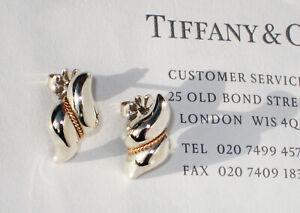 Tiffany & Co 18Ct 18K Gold Sterling Silver Shell Milgrain Twist Stud Earrings