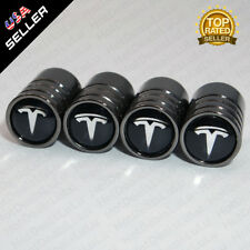Black Chrome Car Wheel Tyre Tire Air Valve Caps Stem Cover With Tesla Emblem