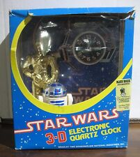 Vintage NEW MIB Star Wars 3-D Electronic Quartz Clock Droids C-3PO R2-D2