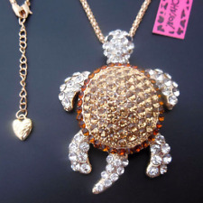 Betsey Johnson Amber & Diamond White Crystal Turtle Tortoise Pendant Necklace