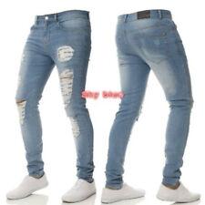 Men Ripped Skinny Biker Zipper Fly Jeans Destroyed Hole Frayed Denim Pants