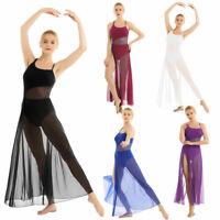 Women's Lyrical Dress Contemporary Latin Ballet Dance Mesh Maxi Dress Costume