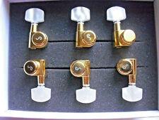 Schaller M6 Locking Pin Tuners staggered 6 links Gold, Perloid-Flügel
