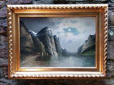 Sogne Fjord Norwegische Fjordlandschaft. Antik Ölgemälde OLAV BRYSTORP (*1842)