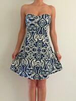 Women's Navy White Strapless Paisley Party Evening Cocktail Sexy Dress 8-10-12