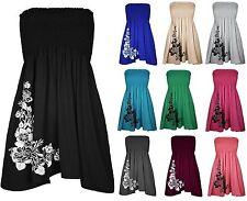 Womens Sheering Boob Tube Gather Bandeau Top Summer Mini Dress Plus Size UK 8-22