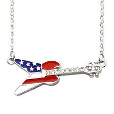4th of July Patriotic Red White Blue American US Flag Guitar Necklace Pendant a1