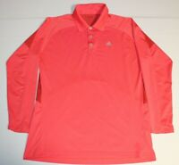 Mens Adidas Climacool Long Sleeve LS Golf Polo Shirt Large Pink Tennis Solid