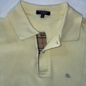 Burberry London XL YELLOW Polo Shirt 100% Cotton NOVA CHECK Made in England