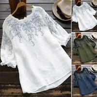ZANZEA Women Summer Embroidered Floral Tee Shirt Top Short Sleeve Ladies Blouse