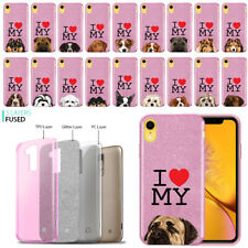 """For Apple iPhone Xr 6.1"""" I Love My Dog Design Slim Sparkle Pink Tpu Case Cover"""