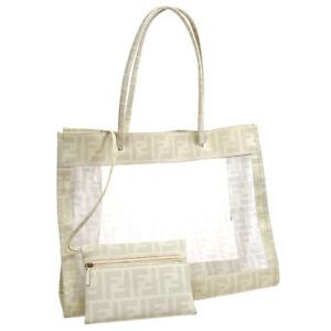 FENDI Zucca Hand Tote Bag Purse White Nylon Mesh 2384/8BH183 VYU/088 32759