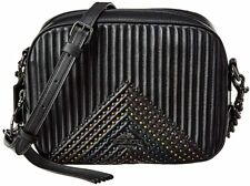 COACH Polished Pebble Leather Stud Doll Crossbody Black Stripe Bag Handbag NEW