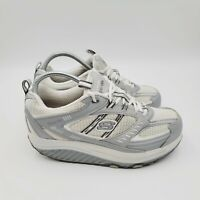 Skechers Shape Ups Silver White Size 8.5 Womens Walking Athletic Sneakers Shoes