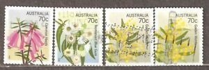Australia: full set of 4 used stamps, Flowers - Floral Emblems, 2014, Mi#4086-9
