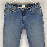 St. John's Bay Women Size 12 Stretch Blue Med Wash Mid Rise Bootcut Detail Jeans