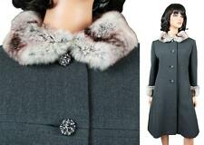 Vintage Princess Coat S Chinchilla Fur Collar Cuffs Dark Gray Long Wool Jacket