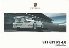 PORSCHE 911 GT3 RS 4.0 Betriebsanleitung 2010 Typ 997 Bedienungsanleitung BA