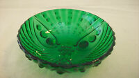 SMALL GREEN BUBBLE GLASS BOWL WITH RAISED DETAILS