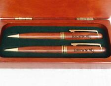 Browning PEN & PENCIL SET Rosewood Case w/Signature BUCKMARK Logo *Smooth Write*
