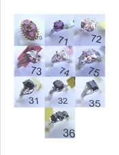 Amethyst, Morganite, CZ, jewelry rings size 8 .925 Silver X3
