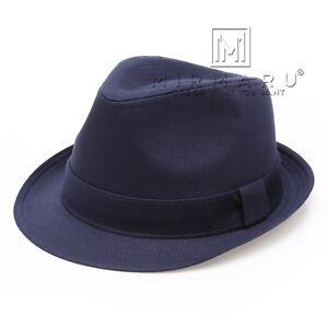 MIRMARU Beach Classic Trilby Short Brim 100% Cotton Twill Fedora Hat with Band