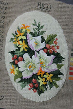Finished Handmade Needlepoint Tapestry Fabric Oval Floral Flowers Rico Gobelin