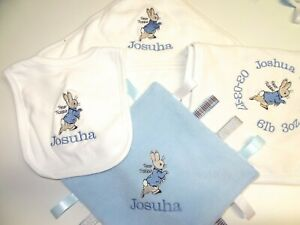 PERSONALISED BABY GIFT SET - BEAUTIFULLY EMBROIDERED PETER RABBIT  TAGGY BIB ETC