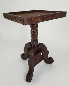 Vintage Accent Pedestal Table Spanish Revival Baroque Carved Wood