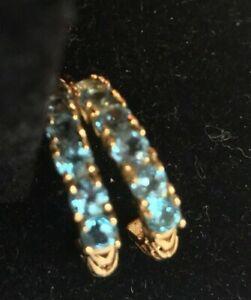 YELLOW GOLD 2CT BLUE TOPAZ HALF HOOP EARRINGS
